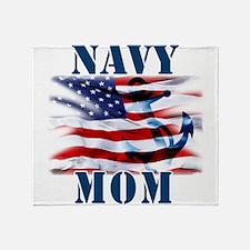Navy Mom Throw Blanket