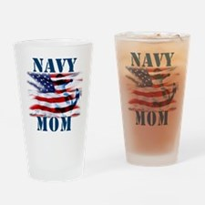 Navy Mom Drinking Glass