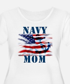Navy Mom Plus Size T-Shirt