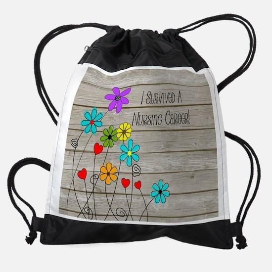 Retired Nurse Floral Brown Drawstring Bag