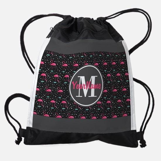 Pink and Gray Flamingo Personalized Drawstring Bag