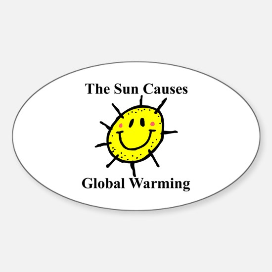 Sun Causes Global Warming Oval Decal