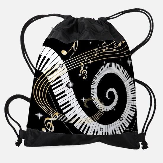 Piano and musical notes Drawstring Bag