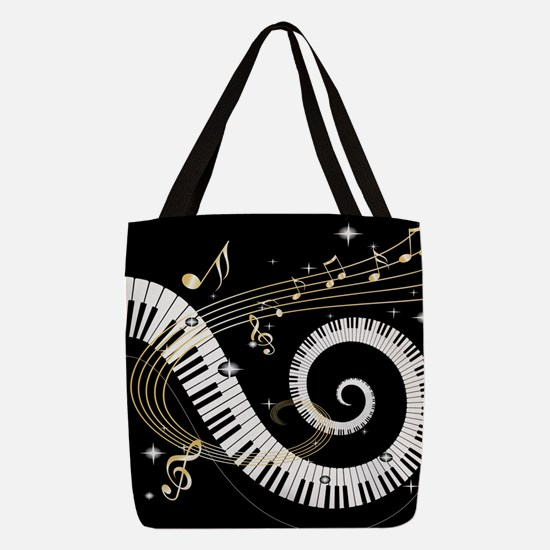 Piano and musical notes Polyester Tote Bag