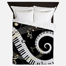 Piano and musical notes Queen Duvet