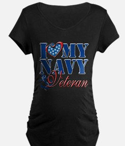 I Love My Navy Veteran Maternity T-Shirt