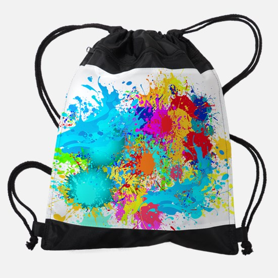 Colorful Splash Drawstring Bag