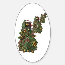 BEAR CHRISTMAS TREES Oval Decal