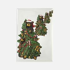 BEAR CHRISTMAS TREES Rectangle Magnet