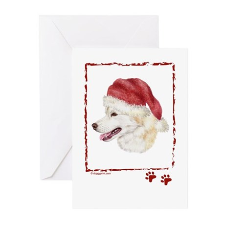Merry Christmas Siberian Husky Greeting Cards