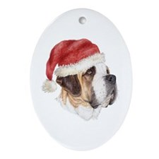 Christmas Saint Bernard Oval Ornament