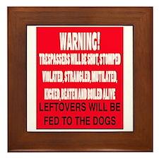 Trespasser Warning Framed Tile