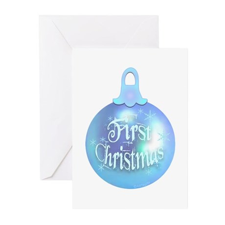 First Christmas (blue) Greeting Cards (Package of