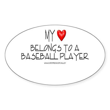 My Heart Baseball Oval Sticker