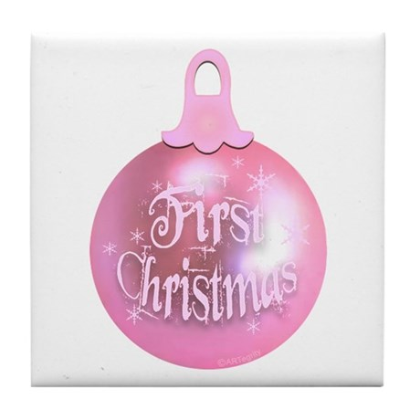 First Christmas (pink) Tile Coaster