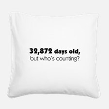 90th Birthday Square Canvas Pillow