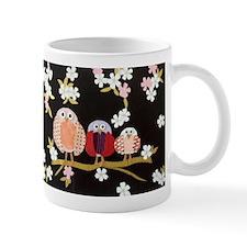 Cute Three Owls at Night in Blossom Tree Mug