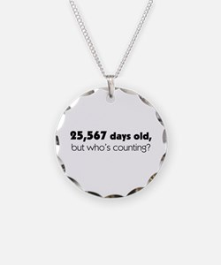 70th Birthday Necklace Circle Charm