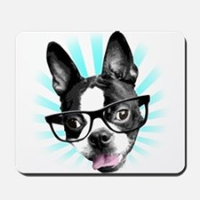 Cute! Hipster Boston Terrier Mousepad