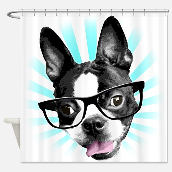 Cute! Hipster Boston Terrier Shower Curtain