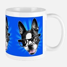 Cute! Hipster Boston Terrier Small Mugs