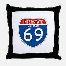 Interstate 69 - MI Throw Pillow