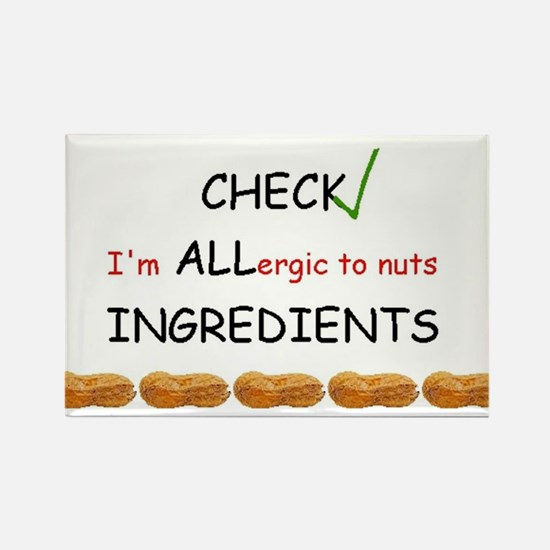 Cool Allergic to nuts Rectangle Magnet