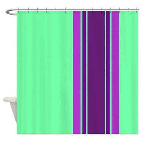 Purple Stripes On Green Shower Curtain By Jqdesigns