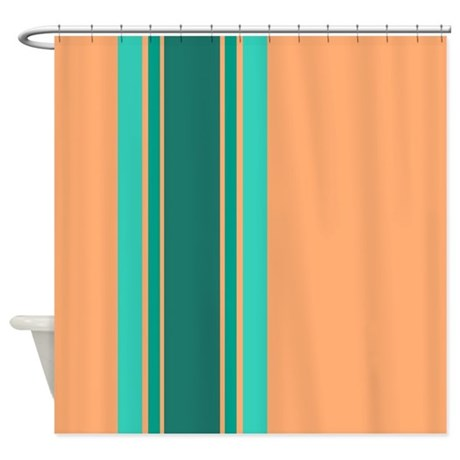 Teal Stripes On Peach Shower Curtain By Jqdesigns