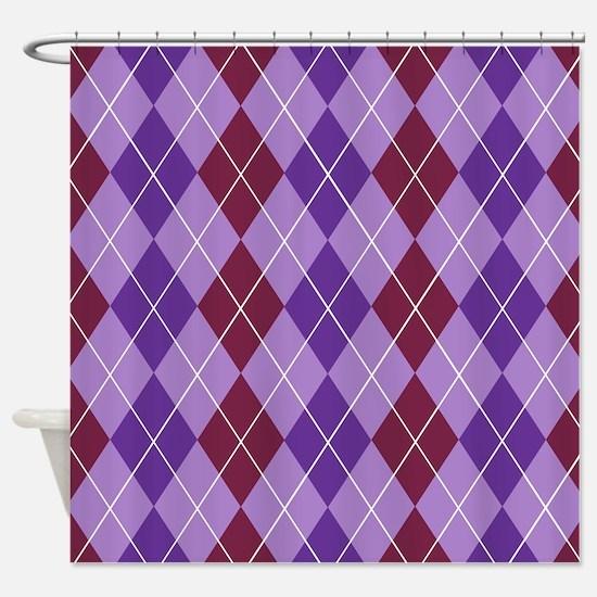 Maroon Purple Argyle Shower Curtain
