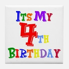 4th Birthday Tile Coaster