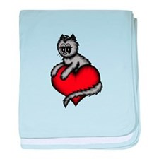cat with heart baby blanket