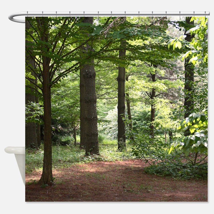 Nature shower curtains nature fabric shower curtain liner - Forest green shower curtain ...