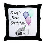 Baby's First Birthday Throw Pillow