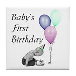 Baby's First Birthday Tile Coaster