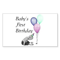 Baby's First Birthday Rectangle Decal