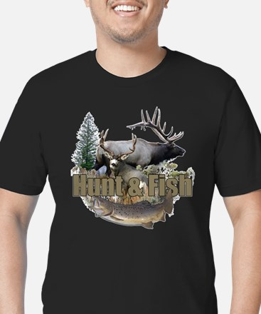 Hunt and Fish Men's Fitted T-Shirt (dark)
