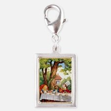 Mad Hatter's Tea Party Silver Portrait Charm