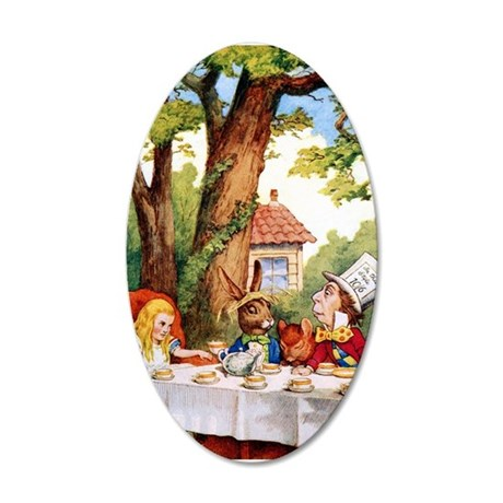 Mad Hatter's Tea Party 20x12 Oval Wall Decal