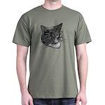 Grey and White Cat Dark T-Shirt