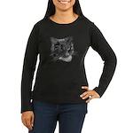 Grey and White Cat Women's Long Sleeve Dark T-Shir