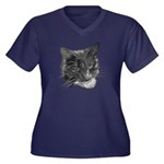 Grey and White Cat Women's Plus Size V-Neck Dark T
