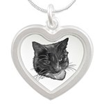 Grey and White Cat Silver Heart Necklace