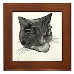 Grey and White Cat Framed Tile