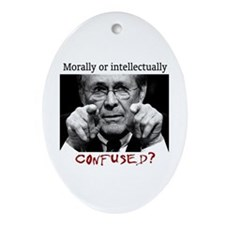 Rumsfeld is confused Oval Ornament