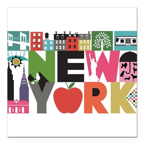 Unique New York - Block by Block Square Car Magnet