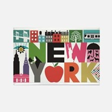 Unique New York - Block by Block Rectangle Magnet