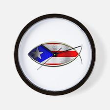 Ichthus - Puerto Rican Flag Wall Clock