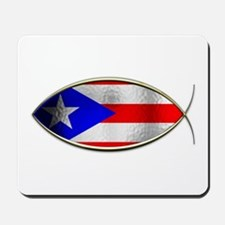 Ichthus - Puerto Rican Flag Mousepad