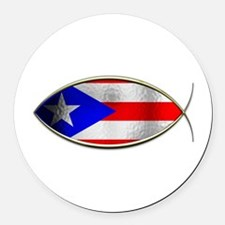 Ichthus - Puerto Rican Flag Round Car Magnet